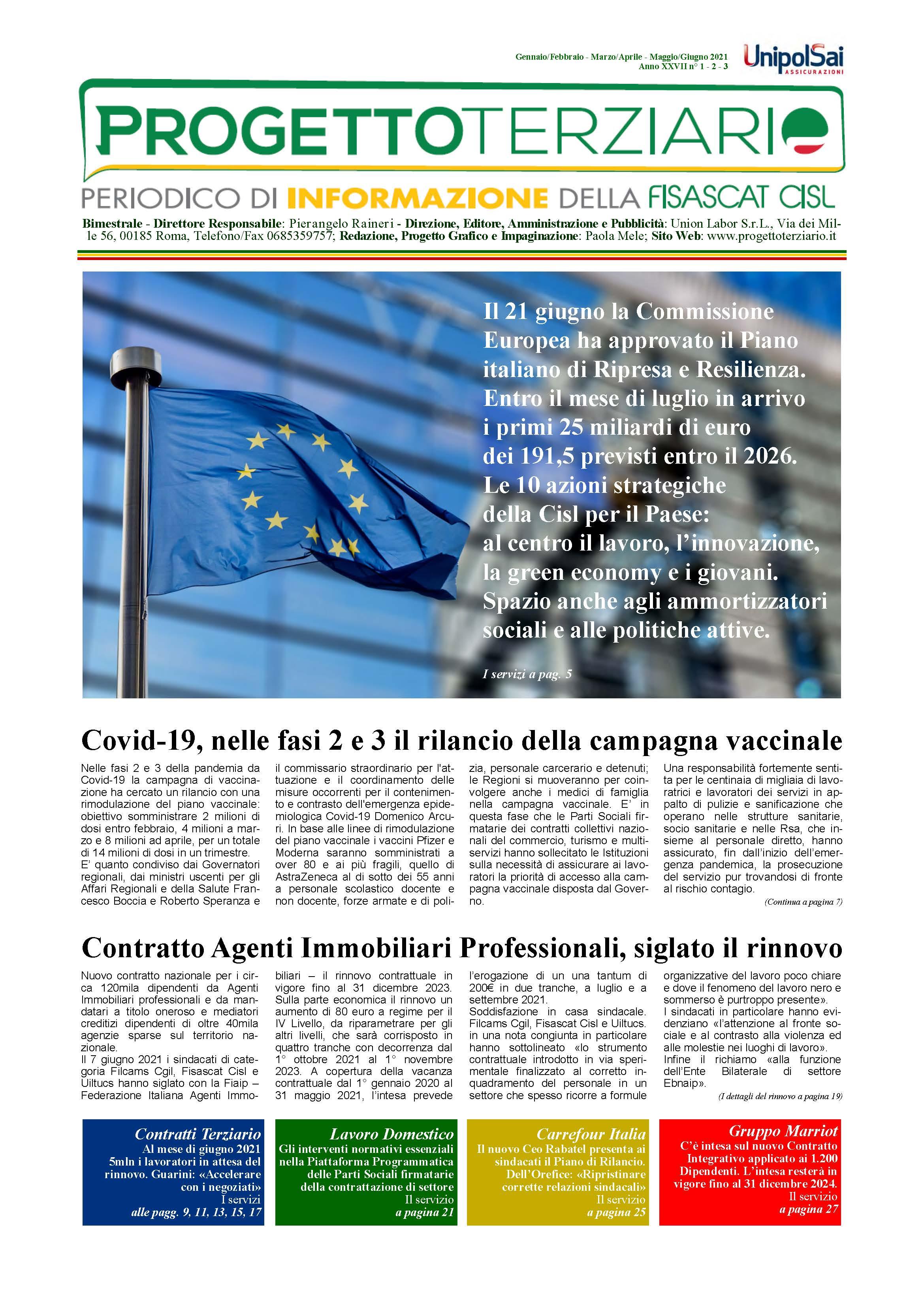 Progetto Terziario - Gennaio/Febbraio Marzo/Aprile Maggio/Giugno 2021